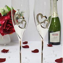 """Свадебные бокалы со стразами """"Exclusive"""" № 8 (2 шт, серебро)"""