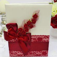 Папка о браке Бордо (бордо/айв) для свидетельства (старый формат)