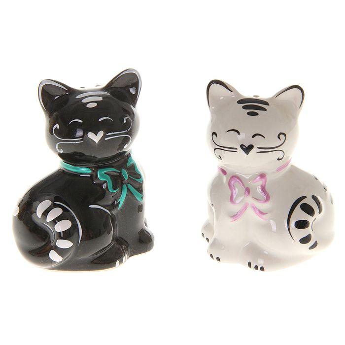 """Сувенирный набор для специй """"Милые котики"""" (2 шт) (фарфор)"""