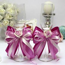 """Свадебные бокалы ручной работы """"Пурпурный рассвет"""""""