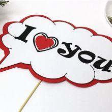 """Табличка для фотосессии """"I love you"""" (красный)"""