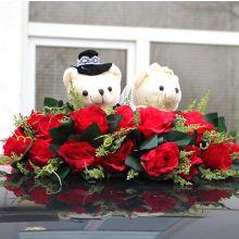 """Композиция на крышу машины """"Свадебная мечта-медвежата"""" (красный)"""