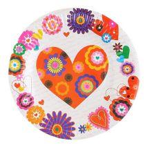 "Упаковка тарелок ""Сердца и цветы"" (6 шт, 18 см)"