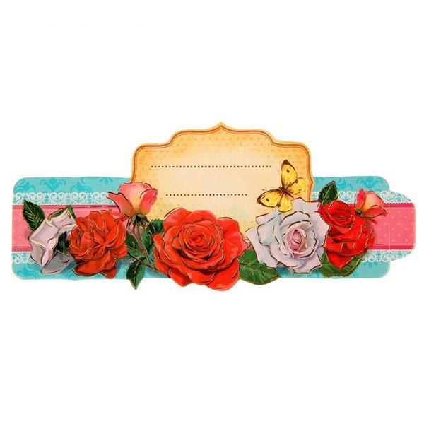 """2 в 1: кольцо для салфеток + банкетная карточка """"Розы"""""""