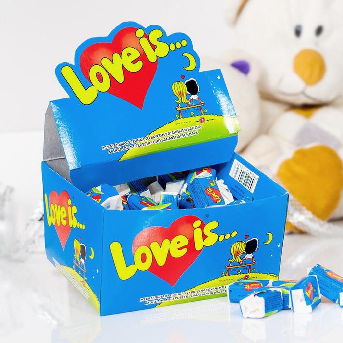 "Сувенир жевательная резинка ""Love is"", банан и клубника (1 шт)"