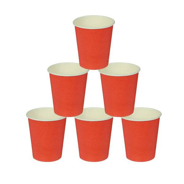 Набор однотонных бумажных стаканчиков (10 шт, красные)