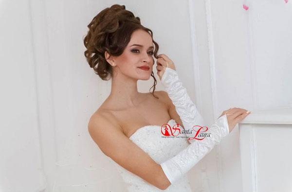 """Свадебные перчатки для невесты """"Камилла"""" (белый, 40-44 размер)"""