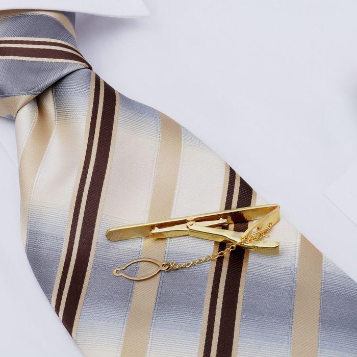 """Зажим для галстука жениху """"Классика"""" (чёрно-золотой)"""