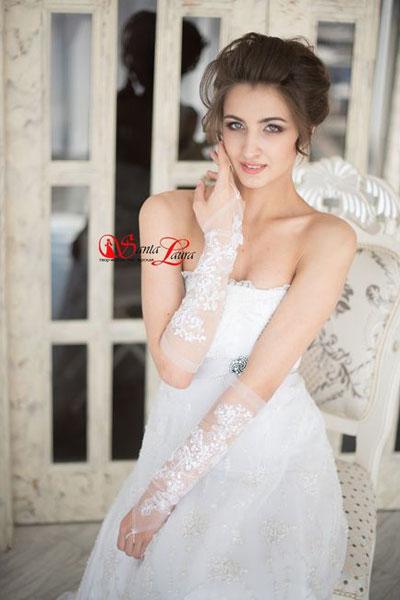 Свадебные перчатки фатиновые с кружевом (белые, 44 размер)