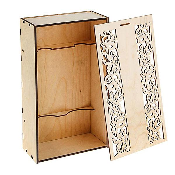 """Деревянная коробка для бутылок """"Резное кружево"""", 38х22х11 см"""