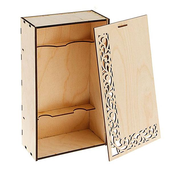 """Деревянная коробка для бутылок """"Узоры"""", 38х22х11 см"""