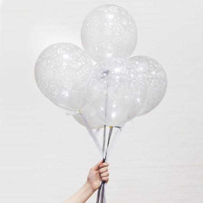 """Набор воздушных шаров """"Нежные сердца"""", 5 шт."""