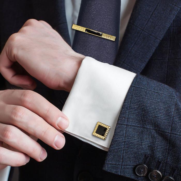 """Набор для жениха """"Запонки + Зажим для галстука"""", цвет черно-золотой"""