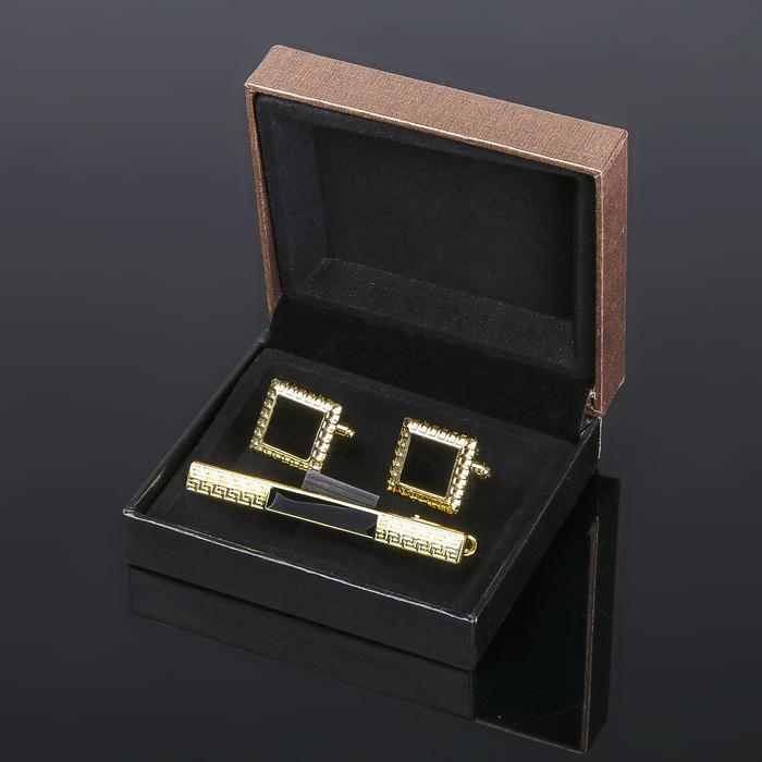 Набор для жениха: запонки + зажим для галстука (черно-золотистый)