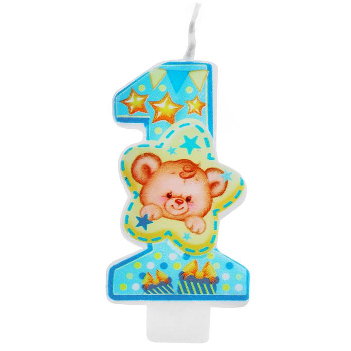"""Свеча для торта  """"1 годик, милый мишка"""", голубая"""