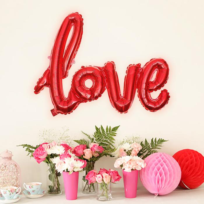 """Шар фольгированный """"Love"""", 97 см, красный"""