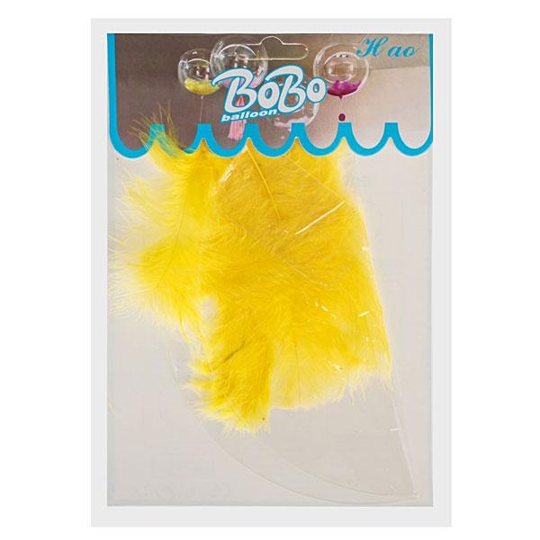 Шар прозрачный, перья желтые (45 см)