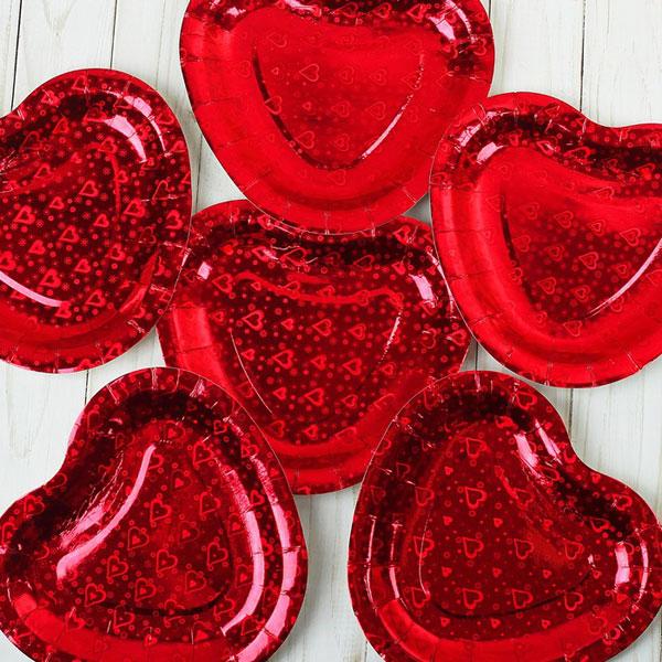 """Набор бумажных тарелок """"Сердечко"""", (6 шт) голография, цвет красный"""