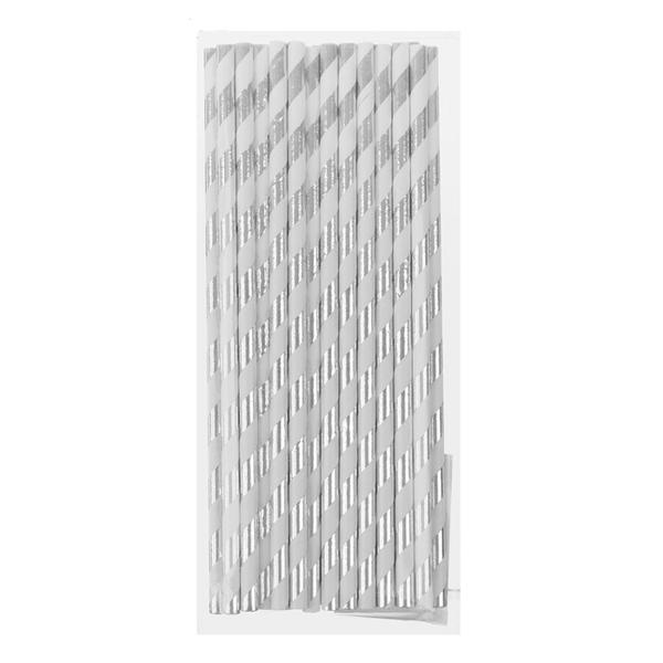 """Трубочки для коктейля """"Stripes"""" (25 шт, серебристые)"""