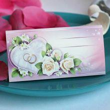 """Рассадочная карточка """"Сердце и розы"""""""