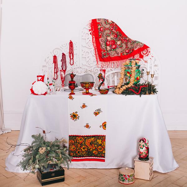 """Свадебный рушник в традиционном стиле """"Хохлома"""" (лён)"""