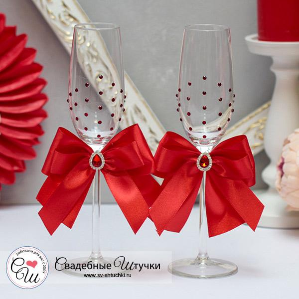 Набор свадебных бокалов молодоженов Ренессанс (2 шт) (красный)