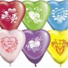 """Набор шаров-сердец """"Амурчики"""" (25 см, 10 шт)"""