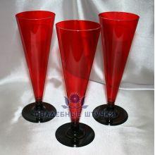 Фужеры пластиковые для шампанского (6 шт) (красный)
