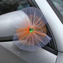 """Бутоньерки на свадебную машину """"Сердечко"""" (бело-оранжевый 2 шт.)"""