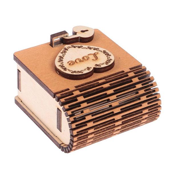 "Деревянная шкатулка для колец ""Брачные узы"", 6х6,5х3 см"