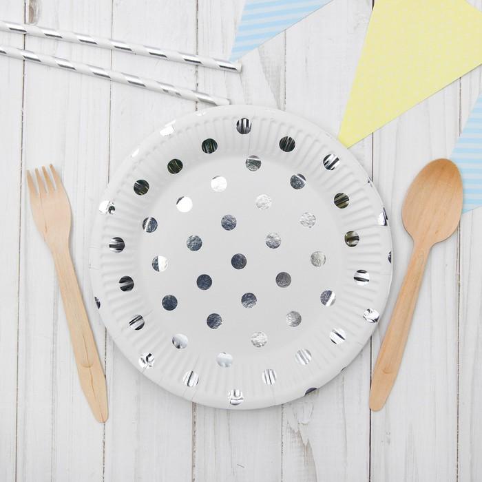 """Бумажные тарелки """"Конфетти"""", серебро, 6 шт."""