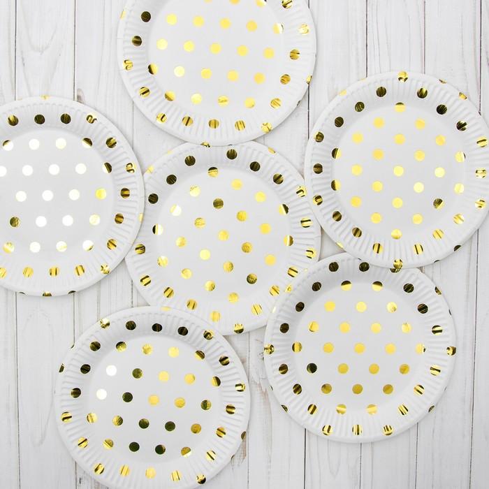 """Бумажные тарелки """"Конфетти"""", золото, 6 шт."""