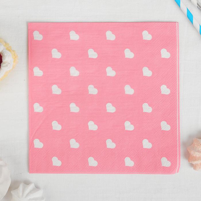 "Набор бумажных салфеток ""Сердечки"" (20 шт, 33*33 см)"