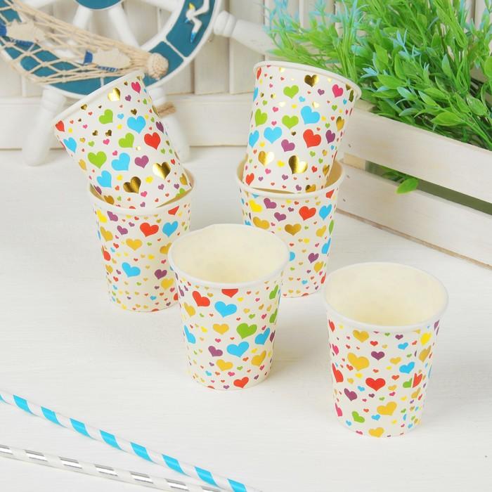 """Набор бумажных стаканчиков """"Разноцветные сердечки"""" (6 шт)"""