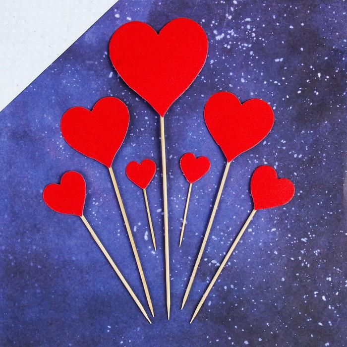 """Топперы """"Красные сердечки"""", 7 шт., картон, дерево"""