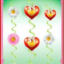 """Подвесное украшение """"Сердца и цветы"""""""