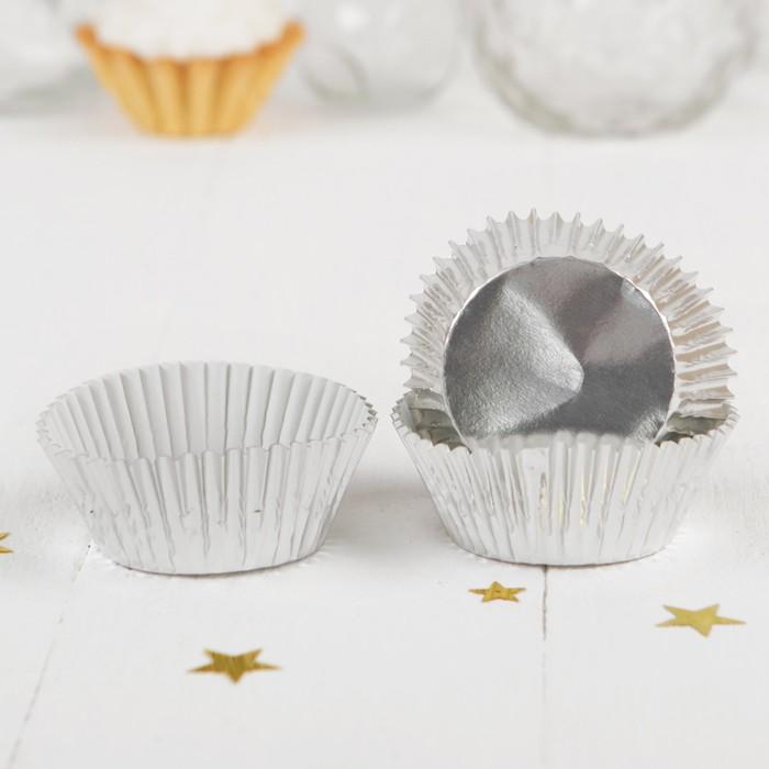 Формочки для кексов Блеск, 24 шт (серебряный)
