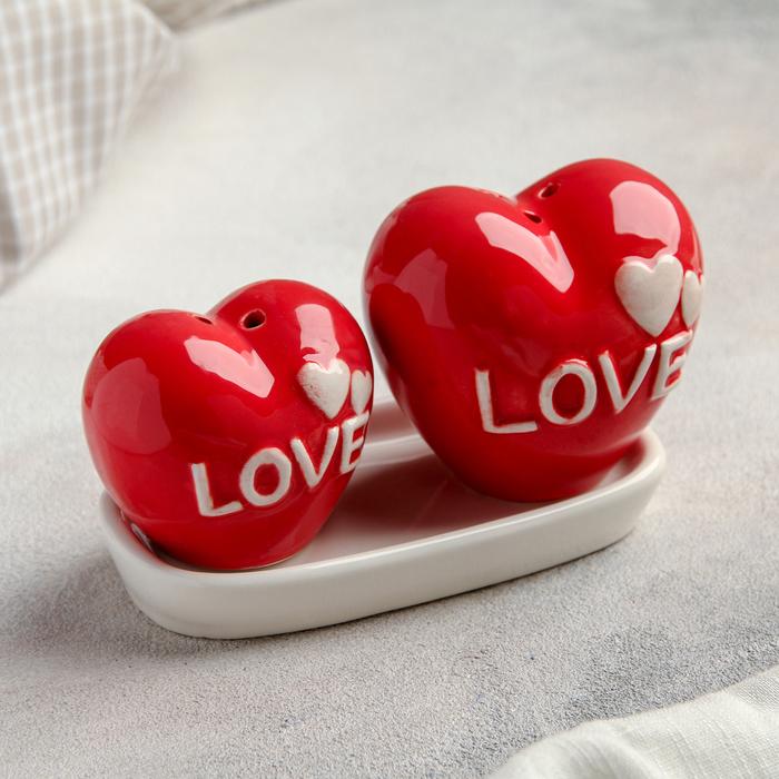 """Сувенирный набор для специй """"Два влюбленных сердца"""", 2 шт"""