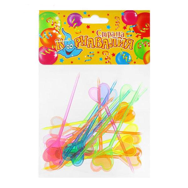 Шпажки для канапе - разноцветные сердечки (24 шт)