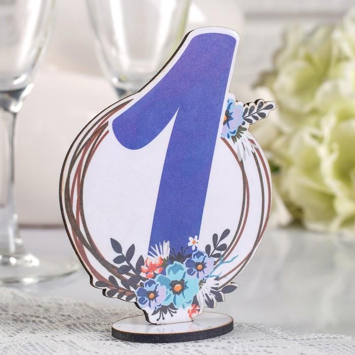 """Набор номеров на стол """"Мгновение"""", голубой/синий, дерево"""