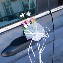 """Бутоньерка на машину """"Цветущий луг"""" (2 шт., розовый)"""