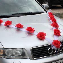 Лента на свадебную машину Пышные розочки (2 луча) (красный)