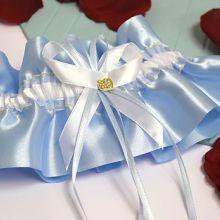 """Подвязка для невесты """"Бриллиантовое сердце"""" (голубой)"""