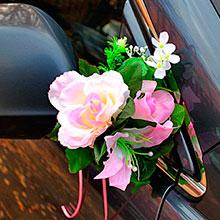 Бутоньерки на машину Цветочная фантазия (2 шт) (розовый)