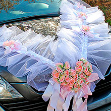 """Композиция на капот свадебной машины """"Dream"""" (бело-розовая)"""