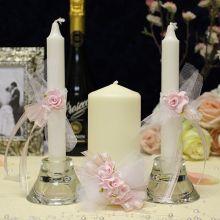 Набор свадебных свечей Цветочная симфония (без подсвечников) (розовый)