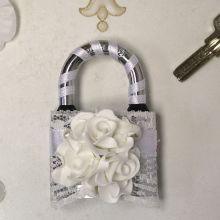 Замочек свадебный Изысканные розы (белый)