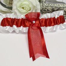 """Свадебная подвязка для невесты """"Парижанка"""" (белый+красный)"""