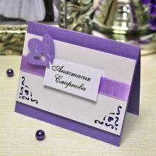 """Банкетная карточка для гостей """"Сердца"""" (сиреневый)"""