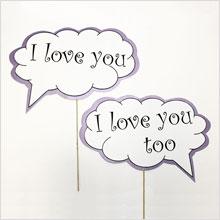 """Набор табличек для для фотосессии """"I love you"""" (сиреневый, 2 шт."""